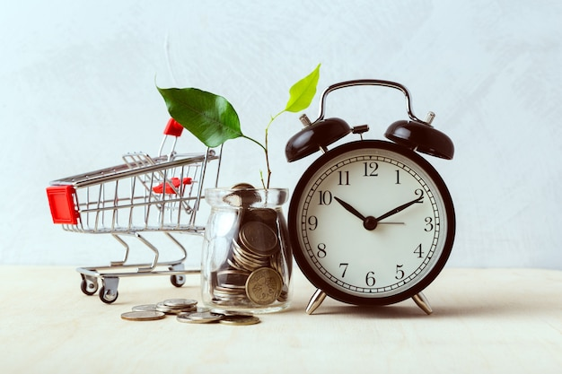 Poupar dinheiro conceito, carrinho de compras ou carrinho com moeda Foto Premium