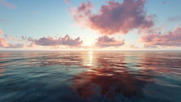 Praia ao pôr do sol com nuvens Foto gratuita