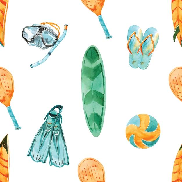 Praia atividades aquarela sem costura padrão. paraíso tropical de verão. férias à beira-mar. equipamento de esporte de verão. surf camp Foto Premium
