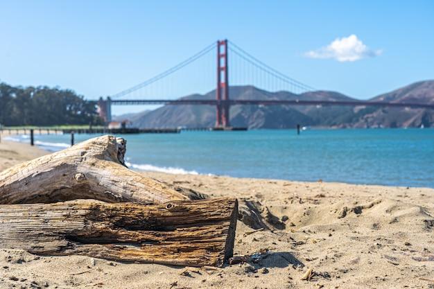 Praia de são francisco com a ponte golden gate no horizonte Foto Premium