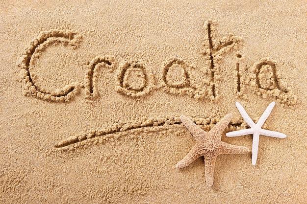 Praia de verão croácia escrevendo mensagem Foto Premium
