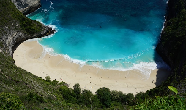 Praia kelingking bonita na ilha de nusa penida, na indonésia Foto Premium