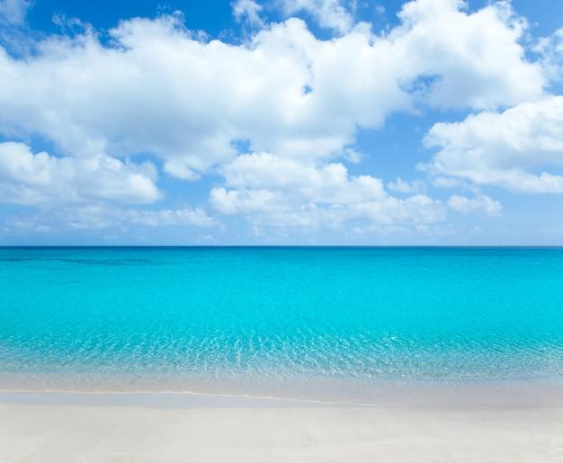 Praia tropical com areia branca e água azul-turquesa Foto Premium