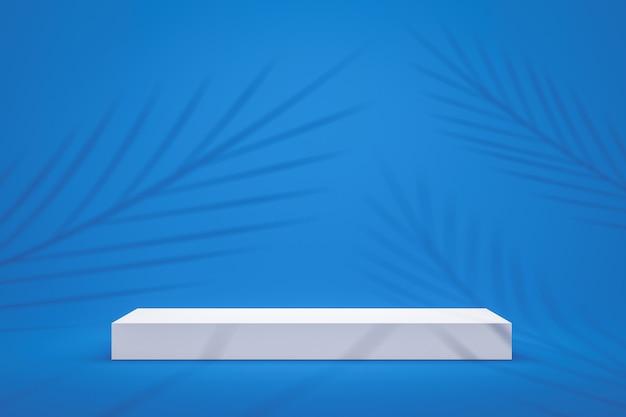 Prateleira branca do pódio ou exposição vazia do suporte no fundo azul vívido do verão com teste padrão em folha de palmeira. suporte em branco para mostrar o produto. renderização em 3d. Foto Premium