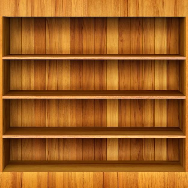 Prateleira de livro 3d de madeira Foto Premium