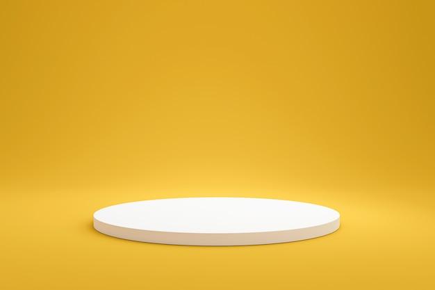 Prateleira de pódio branco ou exibição de pedestal vazio em fundo amarelo vívido verão com estilo minimalista. suporte em branco para mostrar o produto. renderização em 3d. Foto Premium