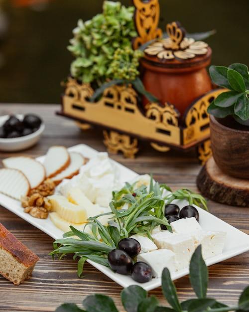 Prato de queijo guarnecido com estragão e azeitona Foto gratuita