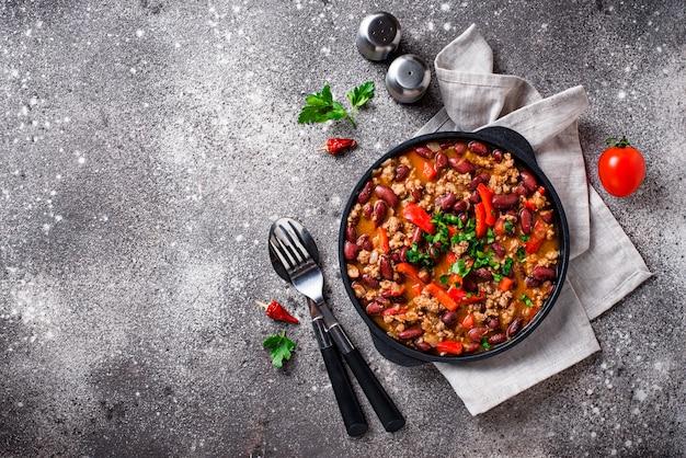 Prato mexicano tradicional chili con carne Foto Premium