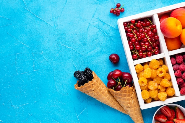 Prato plano de frutas frescas e frutas com copyspace Foto gratuita