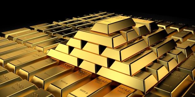 Preço do ouro para o banner do site. renderização 3d de barras de ouro. Foto Premium