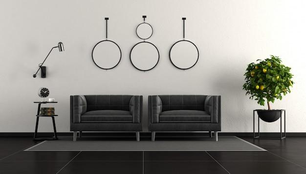 Preto e branco moderna sala de estar Foto Premium