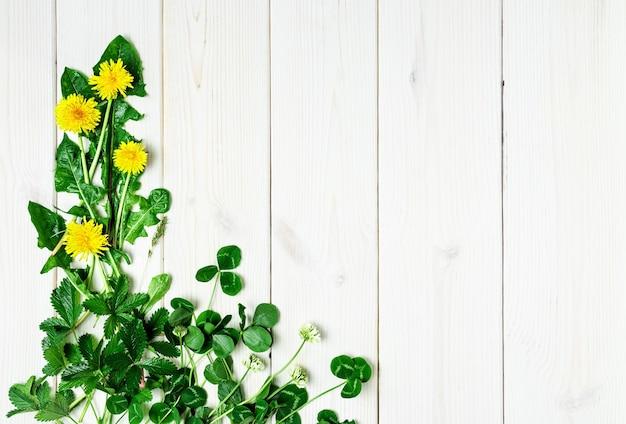 Primavera flores silvestres em uma superfície de madeira branca Foto gratuita