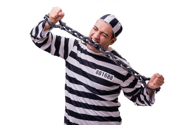 Prisioneiro de homem isolado no branco Foto Premium