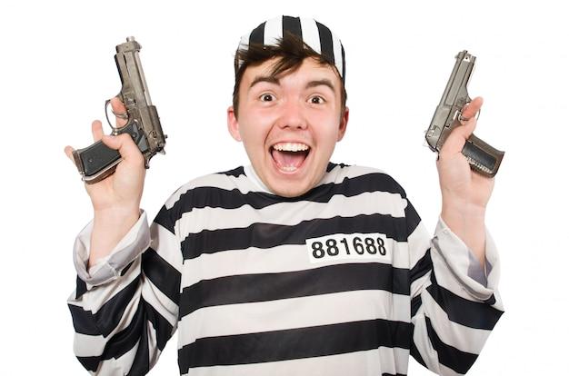 Prisioneiro isolado no branco Foto Premium