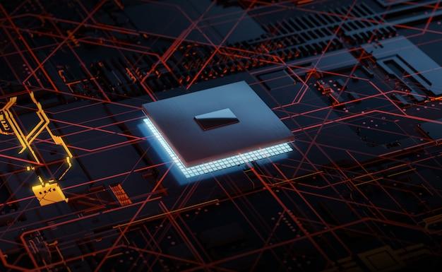 Processador de incandescência do chipset da rendição 3d na placa de circuito. conceito eletrônico e de tecnologia. Foto Premium