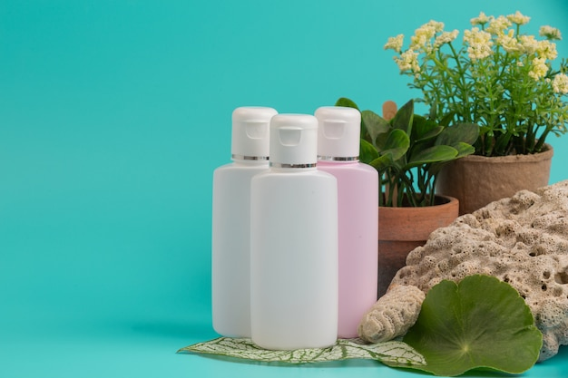 Produtos cosméticos femininos colocados em um azul. Foto gratuita