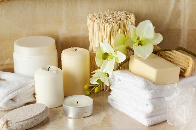 Produtos de spa, conceito de spa Foto Premium
