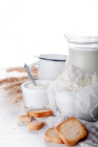 Produtos lácteos frescos Foto Premium