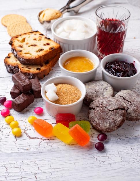 Produtos não saudáveis ricos em açúcar Foto Premium