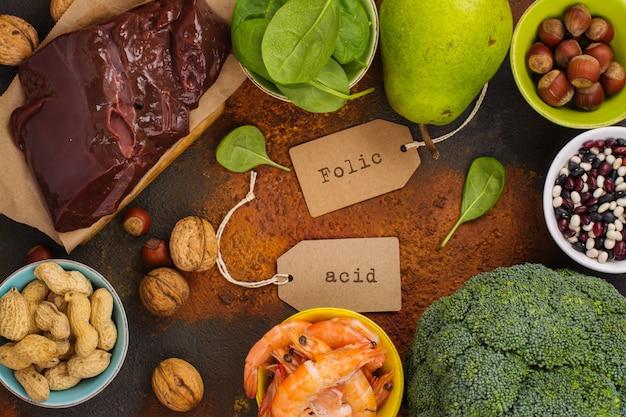 Produtos ricos em ácido fólico Foto Premium
