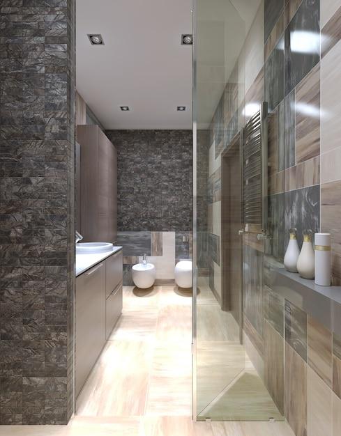 Projeto contemporâneo de banheiro com uso de pequenos ladrilhos nas paredes com vista do chuveiro. Foto Premium