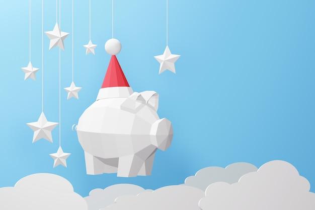 Projeto da rendição 3d, arte de papel e estilo do ofício do baixo porco poli vestindo o chapéu de santa. Foto Premium