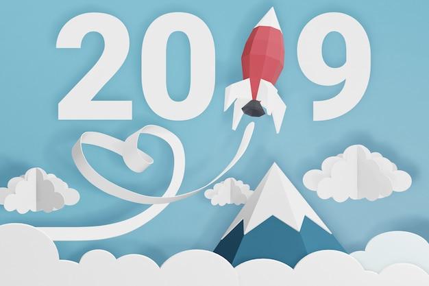 Projeto da rendição 3d, estilo de papel da arte do ano novo feliz 2019 com lançamento de rocket no céu. Foto Premium