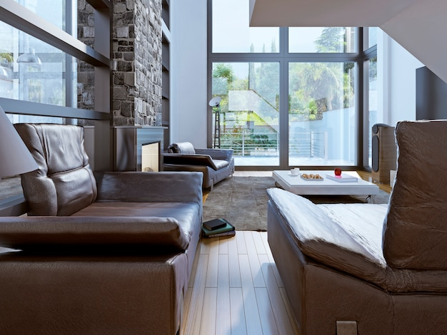 Projeto da sala loft Foto Premium
