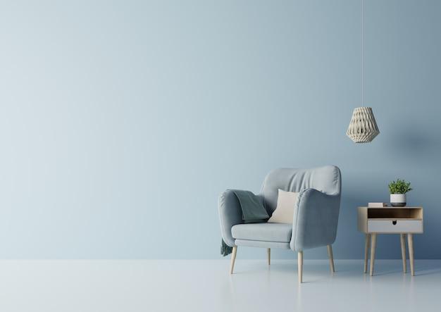 Projeto da tevê na sala moderna interior do armário com plantas, prateleira, lâmpada na obscuridade - parede azul. Foto Premium