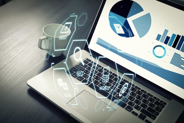 Projeto de inicialização do marketing digital media search engine seo Foto Premium