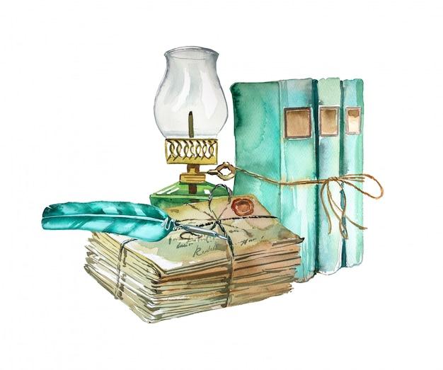 Projeto de material escolar vintage pintado à mão em aquarela. livros antigos, lanterna velha e pilha de ilustração de letras. conceito de educação. Foto Premium