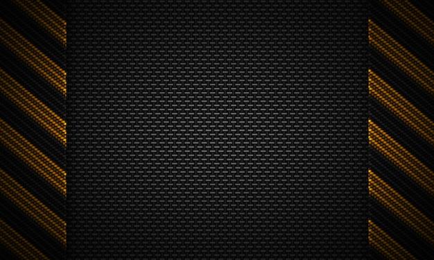 Projeto material textured abstrato do carbono preto com fita de advertência Foto Premium