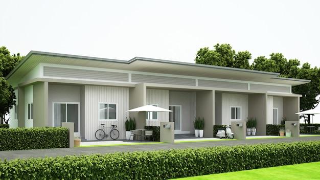 Projeto townhouse para a propriedade - rendição 3d Foto Premium