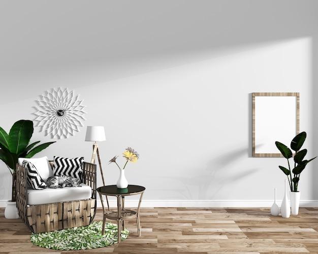 Projetos mínimos interiores tropicais da sala de visitas moderna Foto Premium