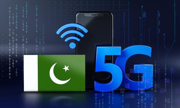 Pronto para o conceito de conexão 5g. fundo de tecnologia de smartphone de renderização 3d Foto Premium