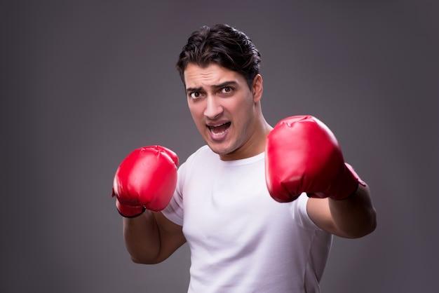Pugilista considerável no conceito de boxe Foto Premium