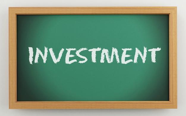 Quadro 3d com texto de investimento Foto Premium