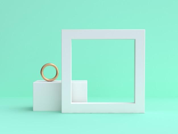 Quadro branco em branco mínimo verde renderização em 3d Foto Premium