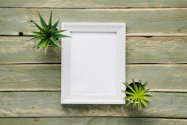 Quadro branco minimalista rodeado por plantas Foto gratuita