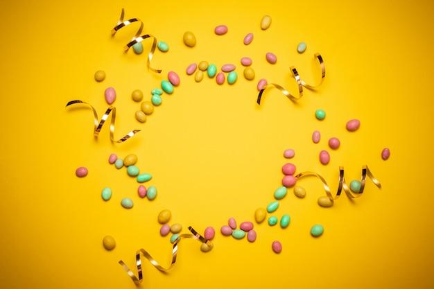 Quadro colorido de multi dragee de doces coloridos Foto Premium