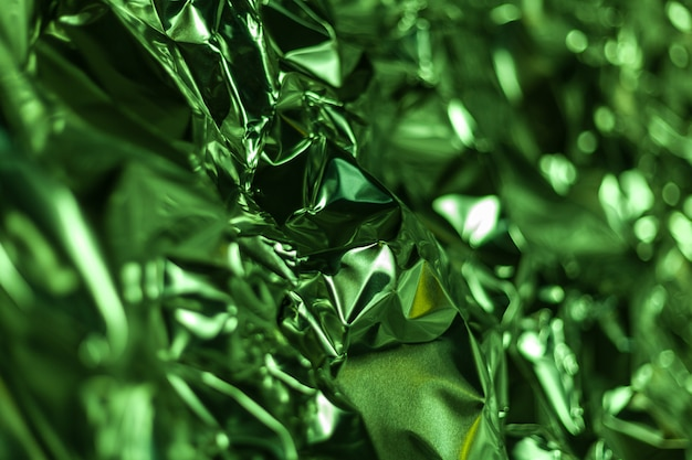 Quadro completo leva de uma folha de papel alumínio amassado verde Foto Premium