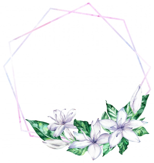 Quadro da aguarela com as flores brancas do café e as folhas verdes. Foto Premium