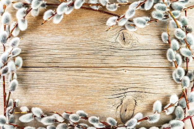 Quadro de amentilhos salgueiro em fundo de madeira texturizado rústico Foto Premium