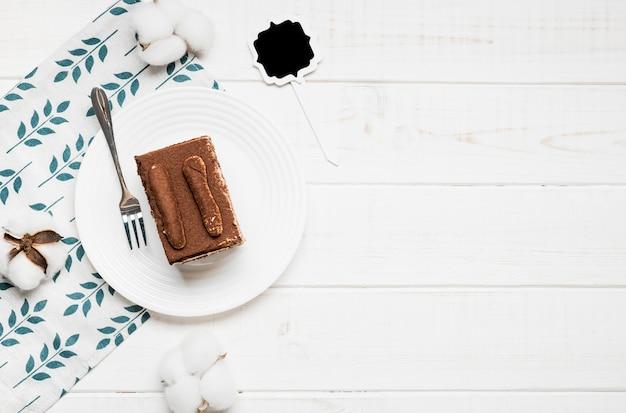 Quadro de bolo de café de vista superior Foto gratuita