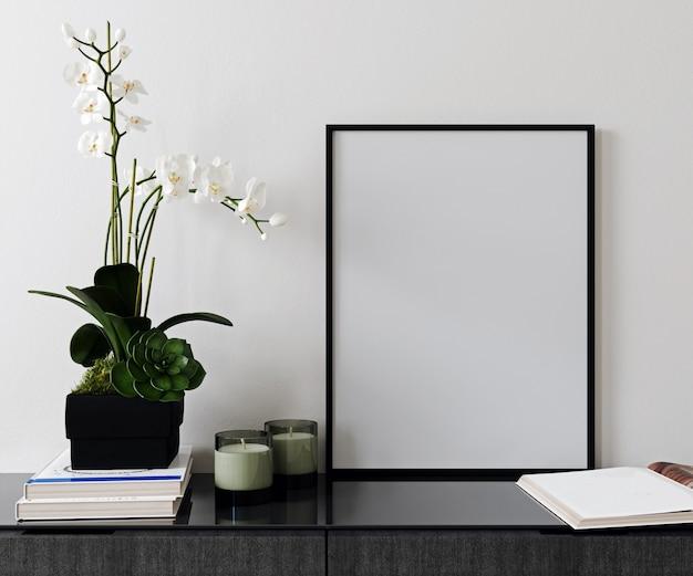 Quadro de cartaz de maquete em fundo interior moderno, estilo escandinavo, 3d render, ilustração 3d Foto Premium