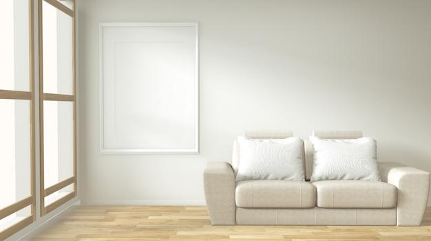 Quadro de cartaz interior mock até sala de estar com sofá branco Foto Premium