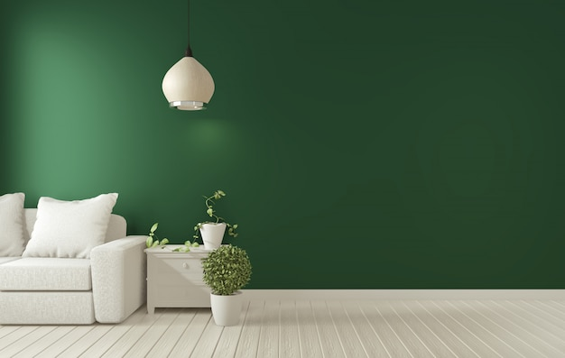 Quadro de cartaz na sala de estar verde escuro interior. renderização 3d Foto Premium
