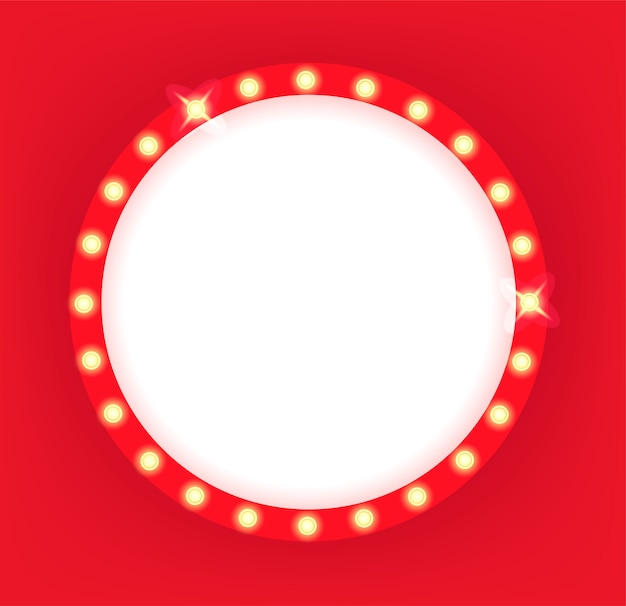 Quadro de círculo de cinema retro iluminado Foto Premium