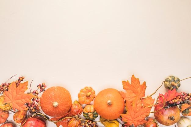Quadro de comida de vista superior com folhas Foto gratuita