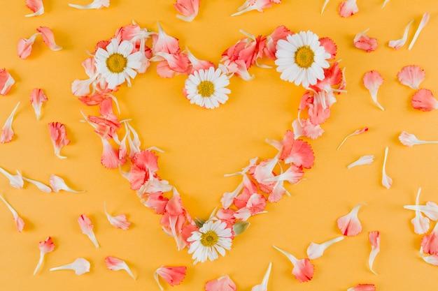 Quadro de coração de margaridas de vista superior Foto gratuita